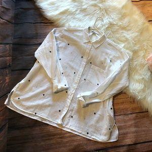 Zara Leaf Print White Button Down Blouse